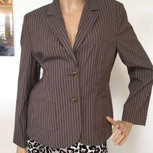 Talbots Cotton Brown Striped Jacket Blazer 12 P